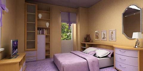 Сочетание бежевого и сиреневого в спальне
