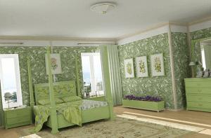 Благородная зелень в спальне