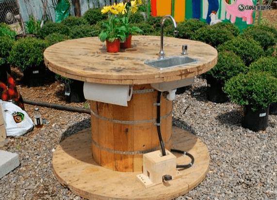 Уличный стол с мойкой