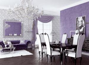 Изысканная гостиная в фиолетово-белой гамме