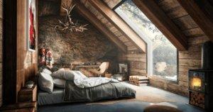 Брутальная спальня в мансарде