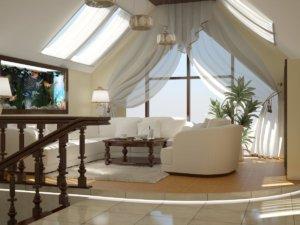Интерьер гостиной-мансарды