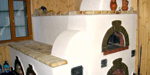 Русская печь беленая