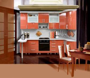 Коралловый фасад кухонного гарнитура