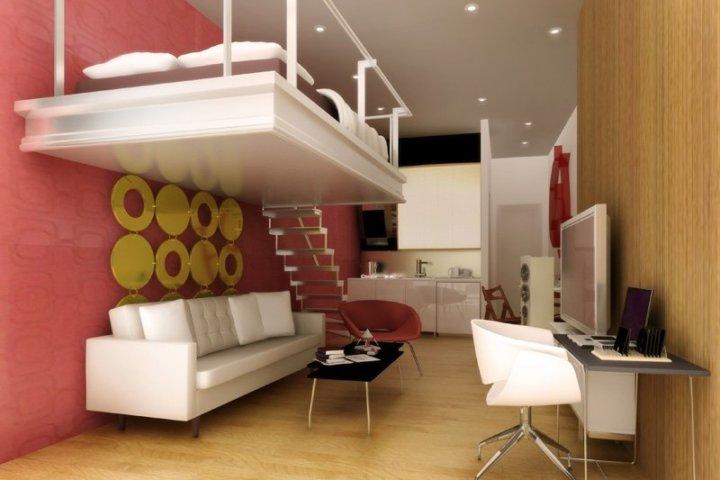 Кухня, гостиная и спальная в одной комнате