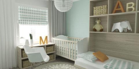 Нейтральный дизайн комнаты для новорожденного
