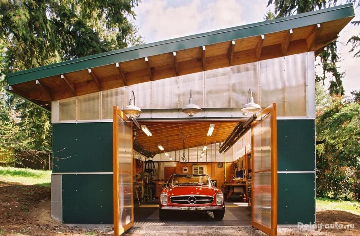 Каркасный гараж с навесом своими руками фото