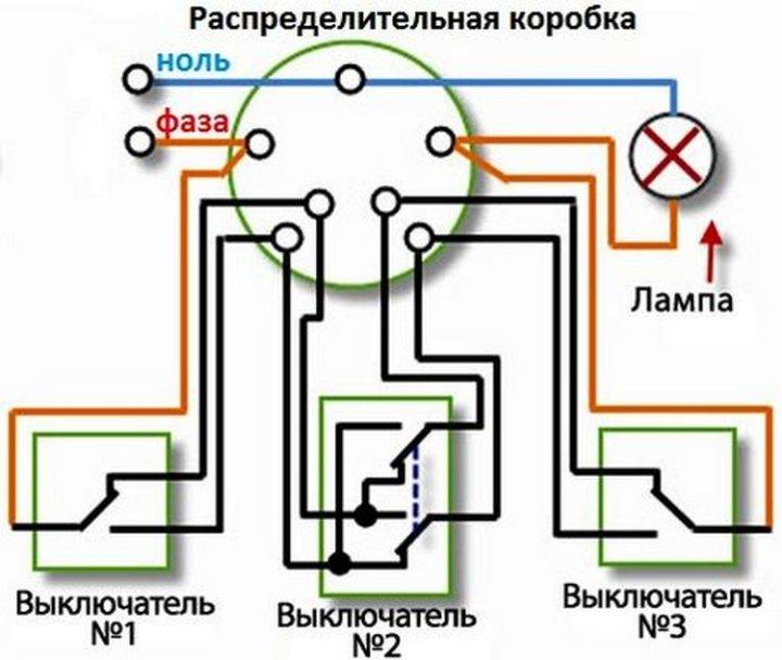 Подключение трех проходных выключателей