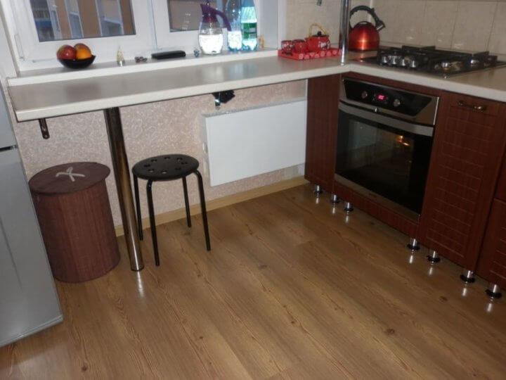 Ламинат на маленькой кухне