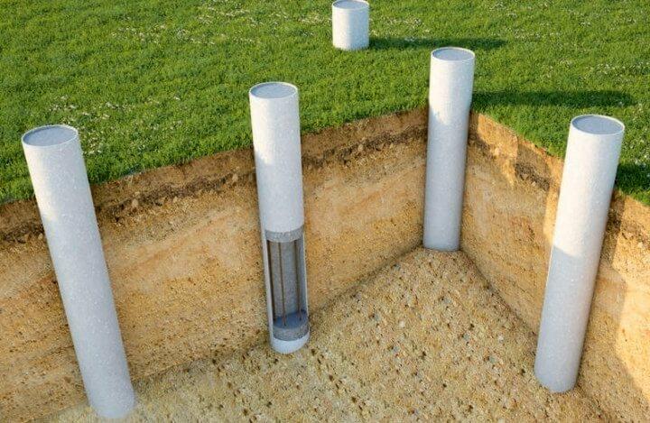 Свайный фундамент из асбестоцементных труб