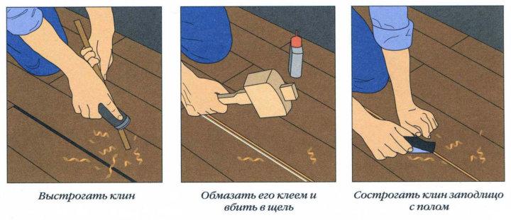 Заделка щелей в деревянном полу клиньями