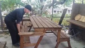 Разложенная скамейка-трансформер