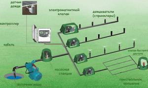 Схема автоматического полива газона