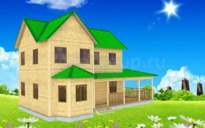 Проект дома с террасой и эркером