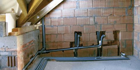 Уклон канализации на стадии строительства