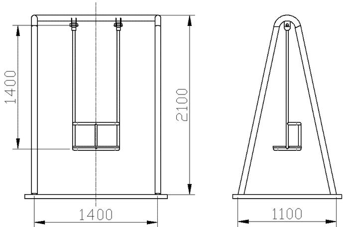 Размеры качелей на чертеже