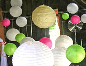 Бумажные разноцветные абажуры