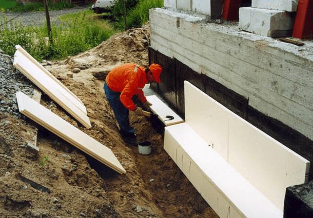 монтаж утеплителя на фундамент
