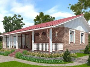 Дом с верандой и террасой по финскому проекту