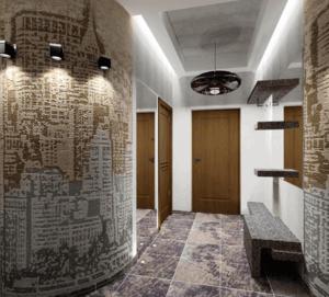 Дизайн стен в коридоре