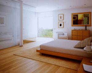 Деревянный пол в интерьере спальни