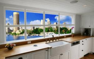 Фальш окно с подсветкой на кухне