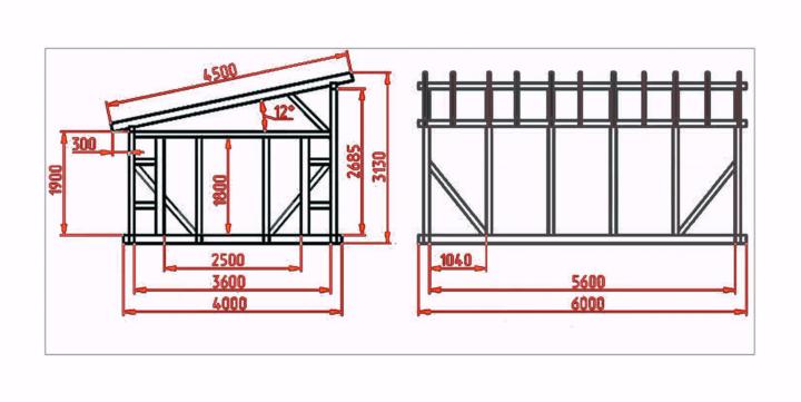 Схема постройки с размерами
