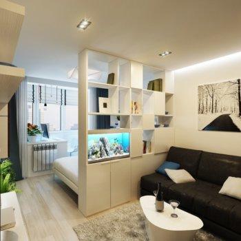 Интерьер гостиной, совмещенной со спальней: способы разграничения