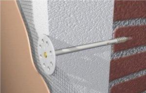 Крепление пенопласта к стене грибками