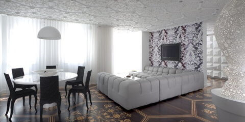 Бесшовная потолочная плитка в интерьере