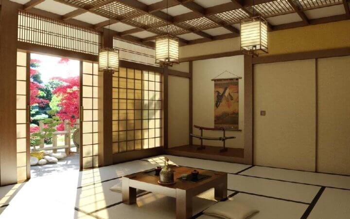 Японский стиль с балками