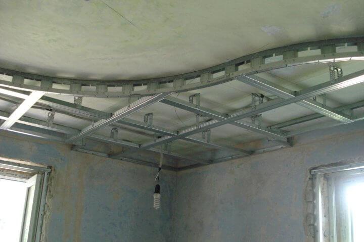Монтаж каркаса под гипсокартон на потолок