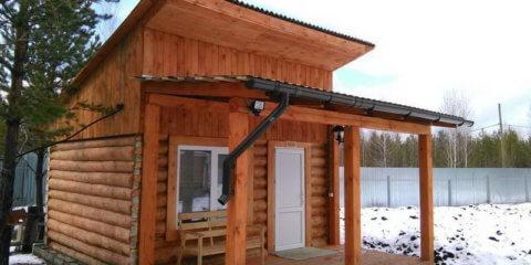 Баня с односкатной крышей