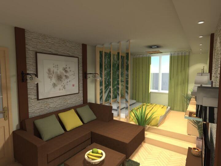 Разграничение комнаты на зоны при помощи подиума