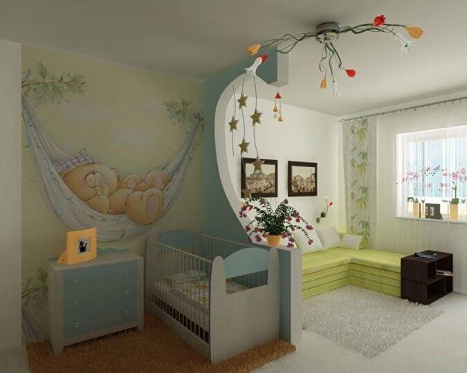 Зонирование комнаты при помощи гипсокартонной перегородки