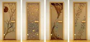 Модели стеклянных дверей для парилки
