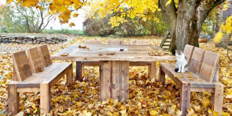 столы и скамейки для дачи из дерева