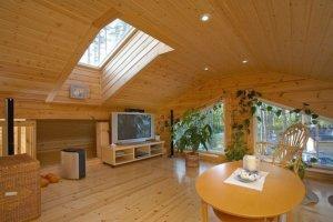 Потолок, подшитый деревом