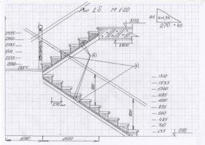 чертеж лестницы с размерами