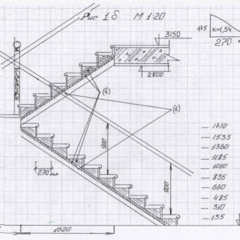 Чертеж лестницы с размерами, выбор типа и модели, материала, определение размеров ступенек и их количества