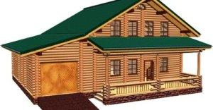 Проект деревянного дома с гаражом